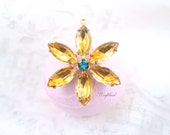 Fused Color Topaz Jonquil & Blue Zircon Flower Pendant with Vintage Stones in Brass Setting 35mm .