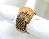 Vintage Adjustable Brass Mesh Ring - 1