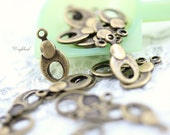 Antique Brass Textured Oval 6x12mm Charms Dangles Connectors - 20