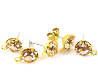 2 pcs - Gold Plated Preciosa Crystal Earring Posts with Loop Rhinestone Ear Studs Earring Finding Round 6.5mm - Light Peach