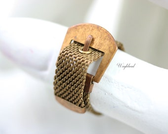 Vintage Adjustable Brass Mesh Ring - 1