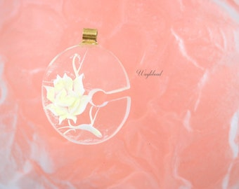 """Light Yellow Vintage Lucite Letter """"C"""" Pendant with a Reverse Carved Rose"""
