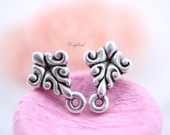 Baroque Style Earring Posts with Loop Sterling Silver Antique Plated Ear Studs Earring Finding Round - 2