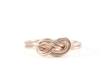 Double Rose Gold Infinity Knot Ring- rose gold-filled, infinity ring, hand made knot ring, rose, everyday ring