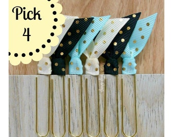 4pc Ribbon Planner Clips Gold Polka Dot Page Marker Cream Black Pastel Aqua Blue Bookmark Life Planner Accessories - You Choose