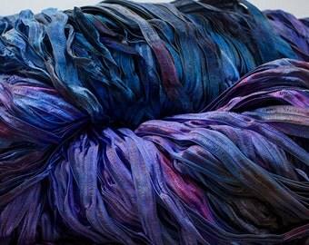 Hand-dyed Ribbon Yarn, Party - Blueberry, nylon 395 yds
