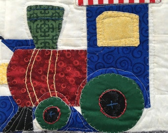 SALE!! TRAINS! Baby Quilt Blanket! Pinwheels and Trains! Great Baby Gift!
