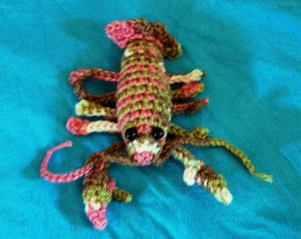 Crochet pink camo lobster toy