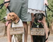 Pet SaVe THe DaTe SiGn - Dog PHoTo PRoP SiGn - Calligraphy Lettering - Pet Wedding SiGnS - RuSTic WeDDing SiGn - Rustic Dark Stain 10 x 5