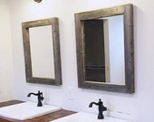 2 Reclaimed Wood Mirrors Size 28 x 34 - Rustic bathroom Mirror Set