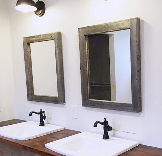 Bathroom Mirrors Sizes reclaimed wood bathroom mirror | wb designs