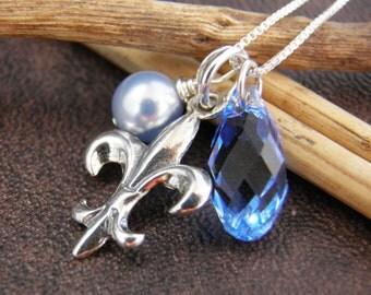 FLEUR DE LIS Necklace , Fleur De Lis Jewelry - Sterling Silver Fleur De Lis Necklace with Swarovski Crystal