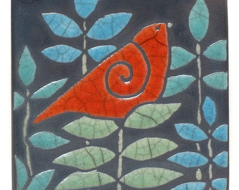Red Bird,Ceramic tile,handmade 3x3 inch raku fired art tile, wall art, home decor