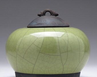Raku ceramic Jar, olive green Pottery,Raku Fired Covered Jar, home decor,handmade jar,art pottery,small urn