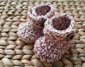 Baby Boots, Crochet, Twisted variagated Red and Cream handmade  0-3 Months - free shipping included!
