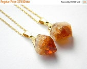 ON VACATION - Citrine Point Necklace - Citrine Crystal Necklace - Gold or Silver Necklace - Bohemian Necklace - Christmas Gift - OOAK Neckla