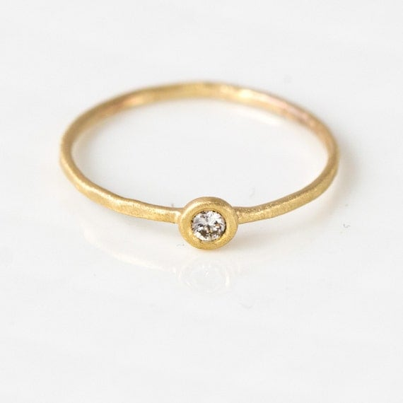 Champagne Diamond 14k Gold Stack Ring, 14k Gold Thin Gold Stacking Ring, Light Brown Diamond, Conflict Free, Melanie Casey Jewelry