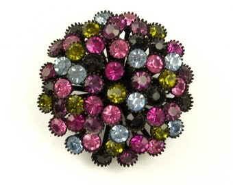 1960s Black Enameled Metal with Purple Lavender Green and Pink Rhinestones Round Domed Vintage Pin Brooch
