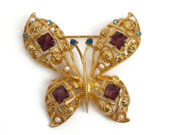 1980s 90s AVON Gold Tone Filigree with Rhinestones Faux Pearls and Enamel Butterfly Vintage Pin Brooch