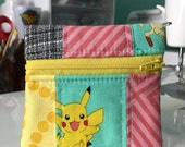 Quilted Mini Zip in Pikachu Patchwork | Handmade Coin Purse