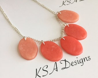 Coral Ombre Beaded Bib Necklace
