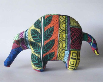 Aardvark anteater stuffed animal silk screened cotton multi colored wildlife african theme decor hand painted