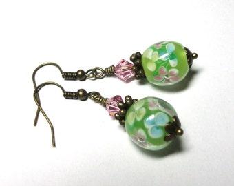 Earrings, Lampwork Pink, Green, Swarovski Crystals, Brass, Wedding Jewelry, Bridal Gift