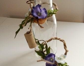 Periwinkle blue Wedding Centerpieces coffee Bottle Toppers Woodland Rustic twine decor wine bottle toppers bridal shower favor accessories