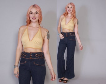 Vintage 70s BELL BOTTOMS / 1970s High Waist Dark Wash Blue JEANS xs - s