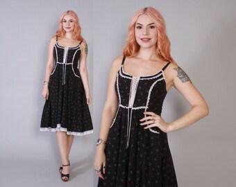 Vintage 70s GUNNE SAX DRESS / 1970s Black Calico Floral Bohemian Full Skirt Corset Lace Sleeveless Midi S