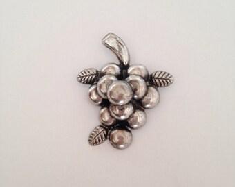 ON SALE Vintage Cluster of Grapes Brooch Silver Tone Metal
