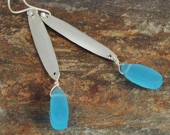 Blue Chalcedony Silver Earrings, Eco Friendly Sterling Silver Earrings, Handmade Earrings, Recycled Silver Earrings