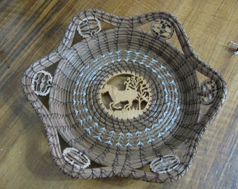Pine Needle Basket with Scroll Sawn Image of a Running Horse