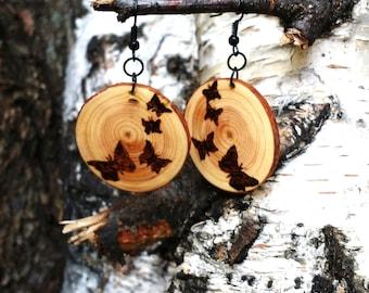 Wood Burned Butterfly Earrings, Reclaimed Pine Earrings, Rustic Tree Slice Earrings