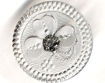 Button--Late 19th C. Clear Lacy Glass Clover--Medium