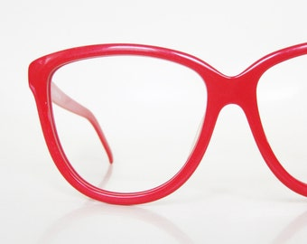 Vintage Cat Eye Sunglasses Eyeglasses Red Womens Glasses Frames Bright Crimson Fire Engine Deadstock NOS New Old Stock Indie Hipster Chic