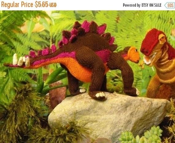 SALE 30% OFF Digital file pdf download knitting pattern - Steve Stegosaurus dinosaur toy knitting pattern pdf