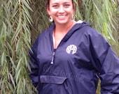 Monogram Rain Jacket, Monogram Half-Zip Pullover, Personalized Rain Jacket, Charles River, Half Zip Pullover, Monogram Hood