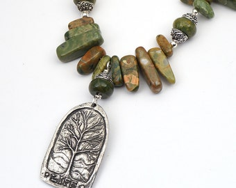 Tree of Life necklace with green brown freeform rhyolite beads, Thoreau quote 20 1/2 inches long