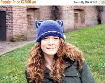 Mad Hat SALE 60% Off - Blue Knit  Beanie - Cat Ears – Handmade Women's Knitted Animal Hat - Small