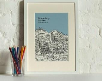 Personalised Glastonbury Print