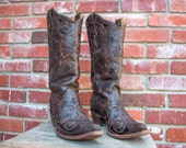 """Corral Vintage Chocolate Lizard Inlay Cowgirl boots Womens size 10 B 13"""" shaft"""