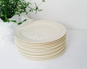 12 Antique Ivory Luncheon Plates . Twelve Cream Dessert Plates . Set of Small Vintage Plates