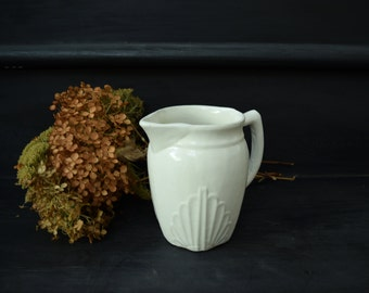 Vintage Pottery Pitcher . Cream Vase . Serving Dish