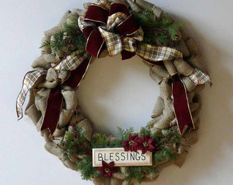 Burlap Blessing Christmas Holiday Wreath