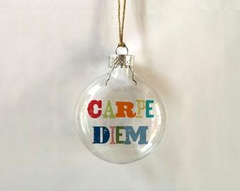 carpe diem // glass ornament // gift // // memento // quote // skel // skel design // skel & co