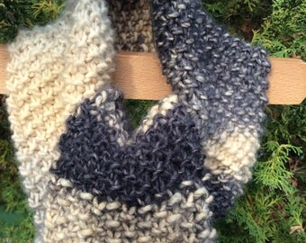 Scarf. Hand knitted unisex woollen scarf. Moss stitch hand knitted scarf. Charcoal,grey,cream wool