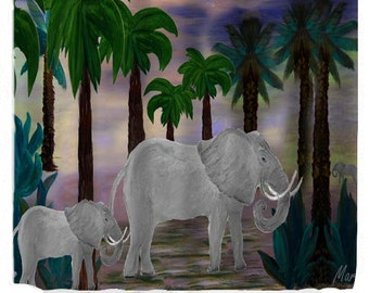 Tropical Elephant Walk Art Shower Curtain