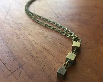 INDRA Necklace - vintage brass cubes