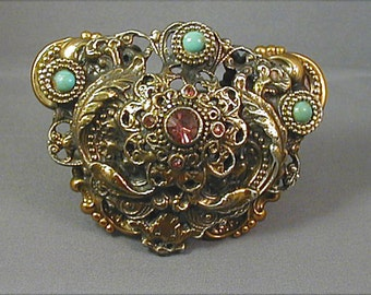 Huge Art Nouveau Double Layered Repousse Brooch